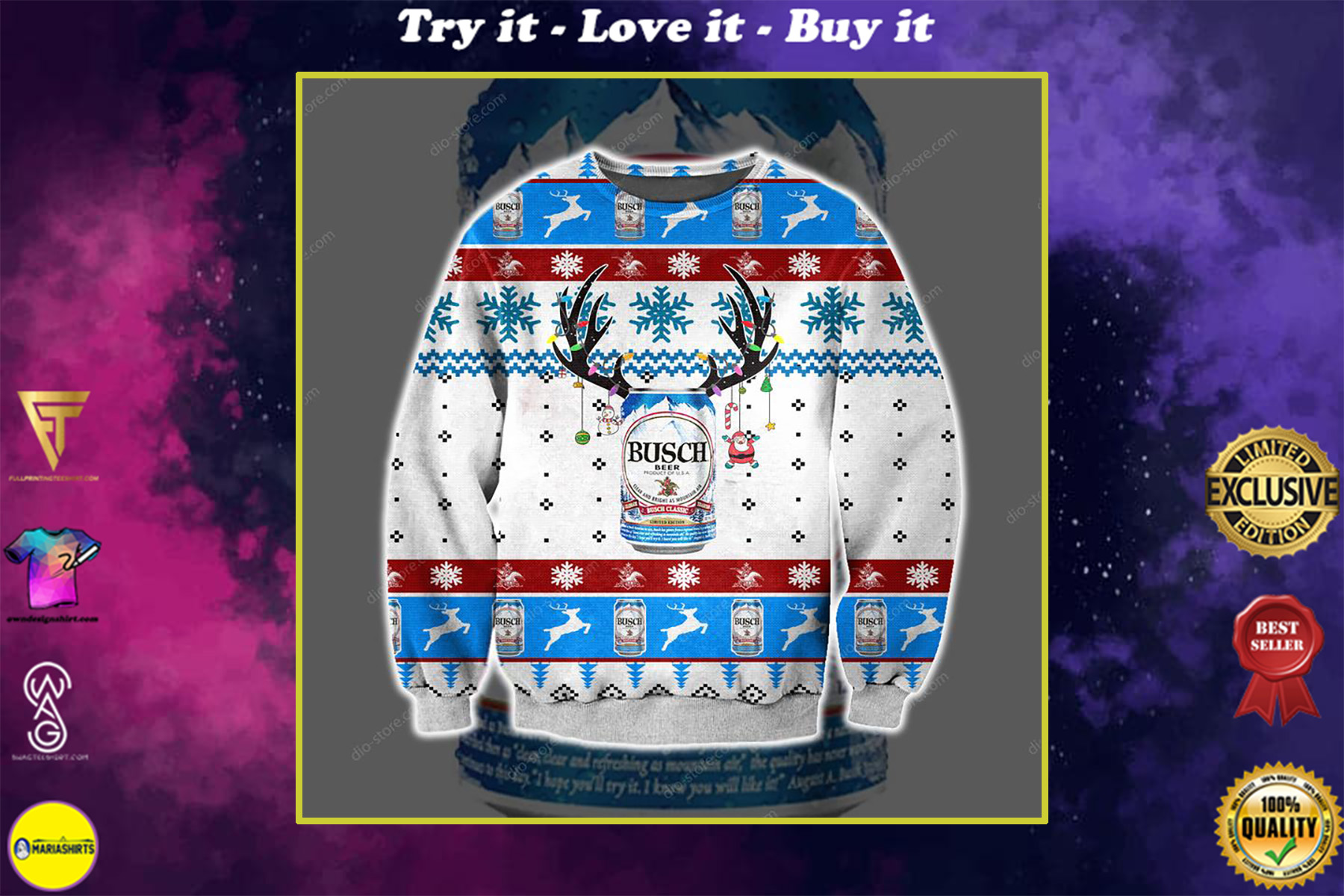 reindeer busch beer all over printed ugly christmas sweater