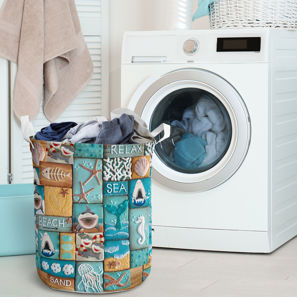 relax sea all over printed laundry basket 2