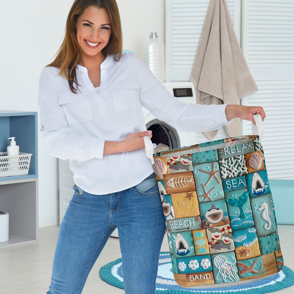 relax sea all over printed laundry basket 3