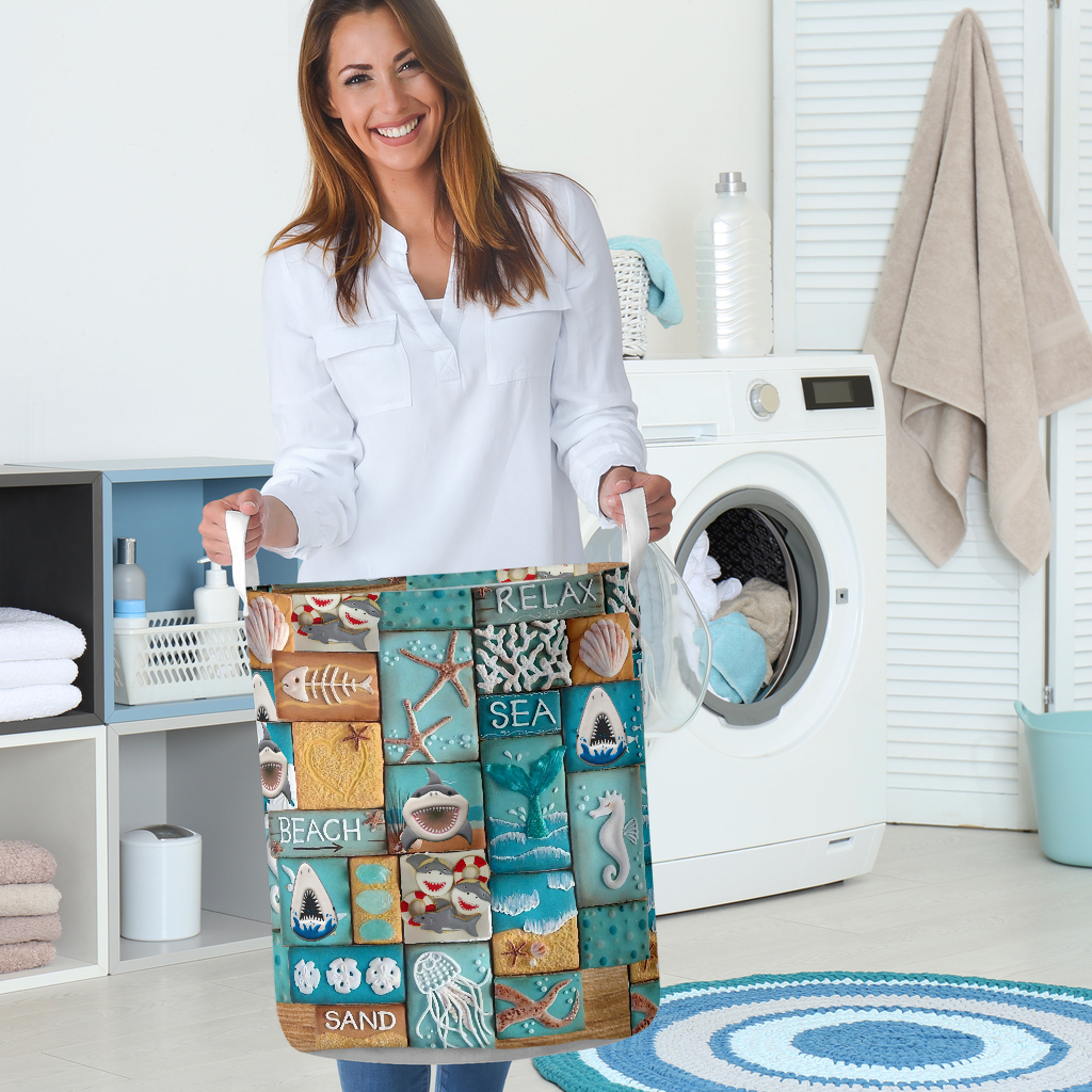 relax sea all over printed laundry basket 4
