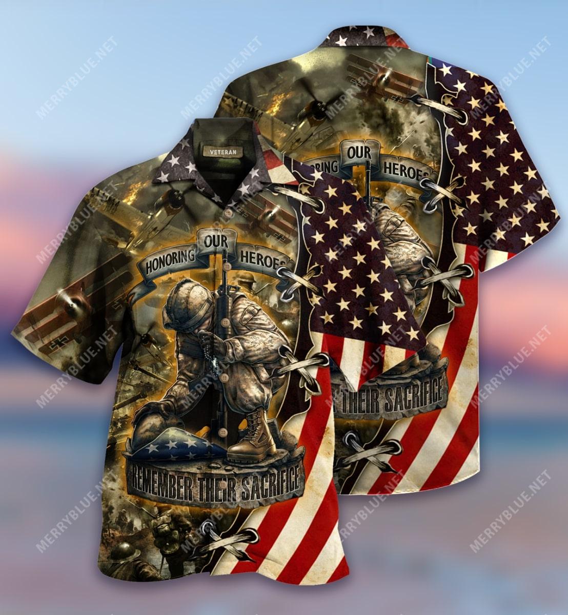 remember their sacrifice veteran all over printed hawaiian shirt 2