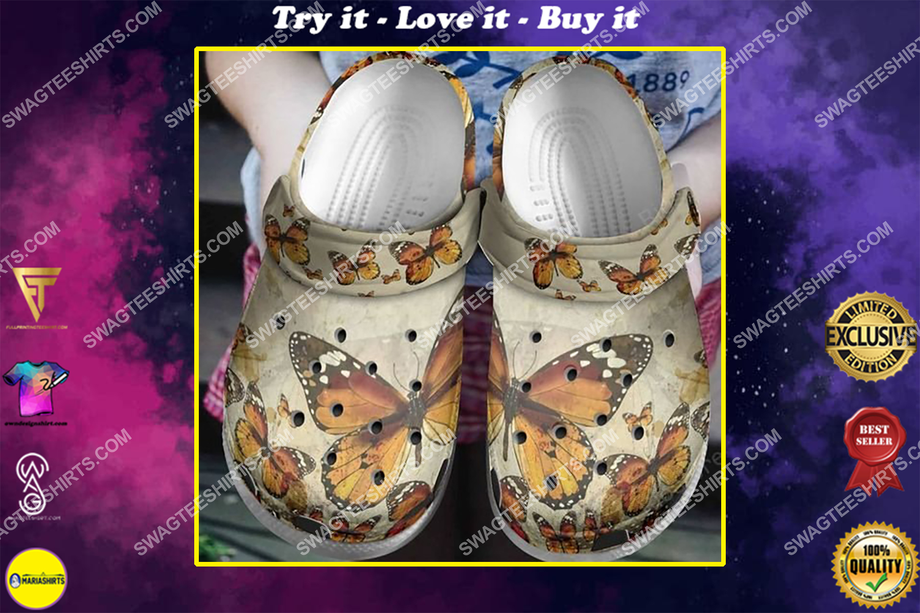 retro butterfly all over printed crocs crocband clog