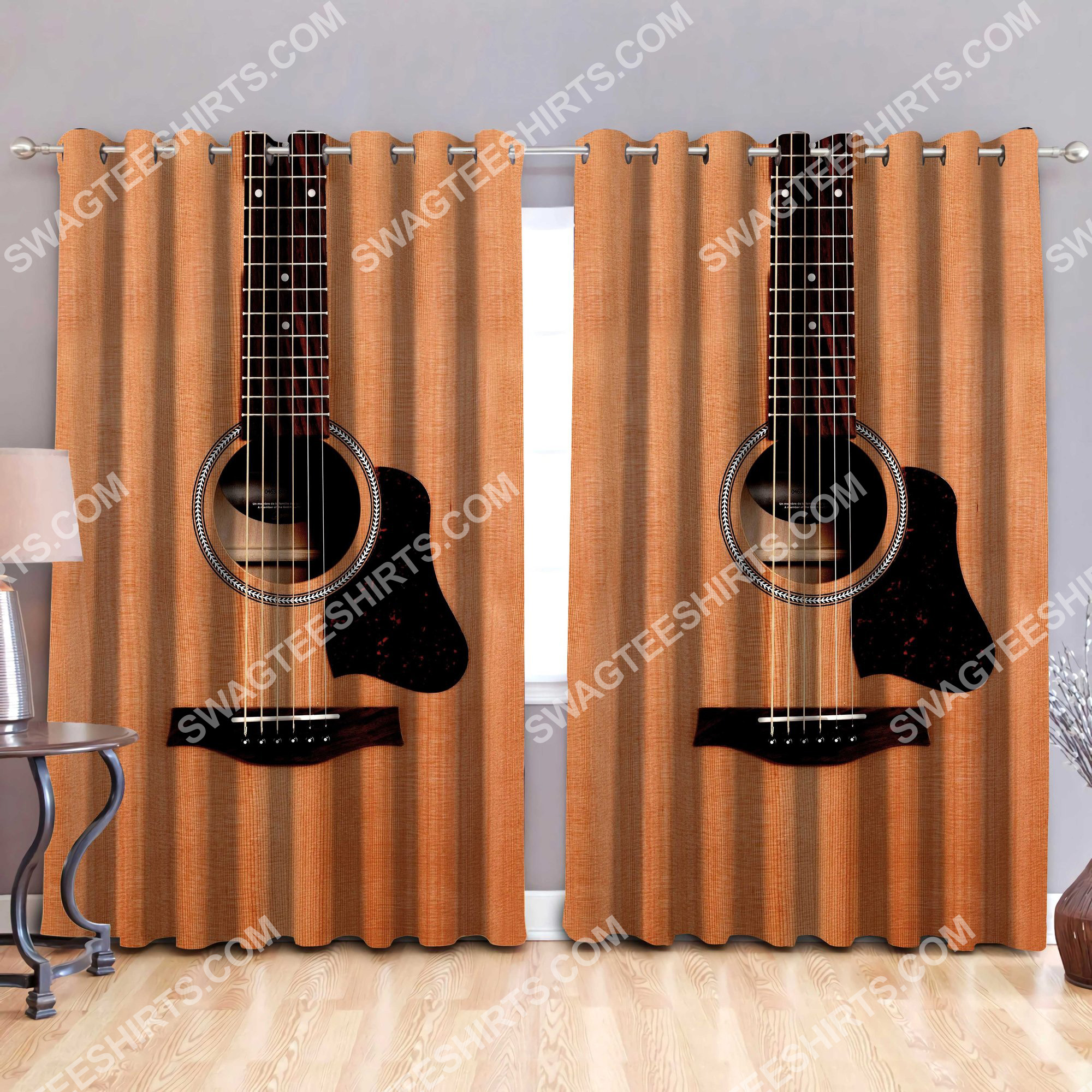 retro guitar musical all over printed window curtains 2(1)
