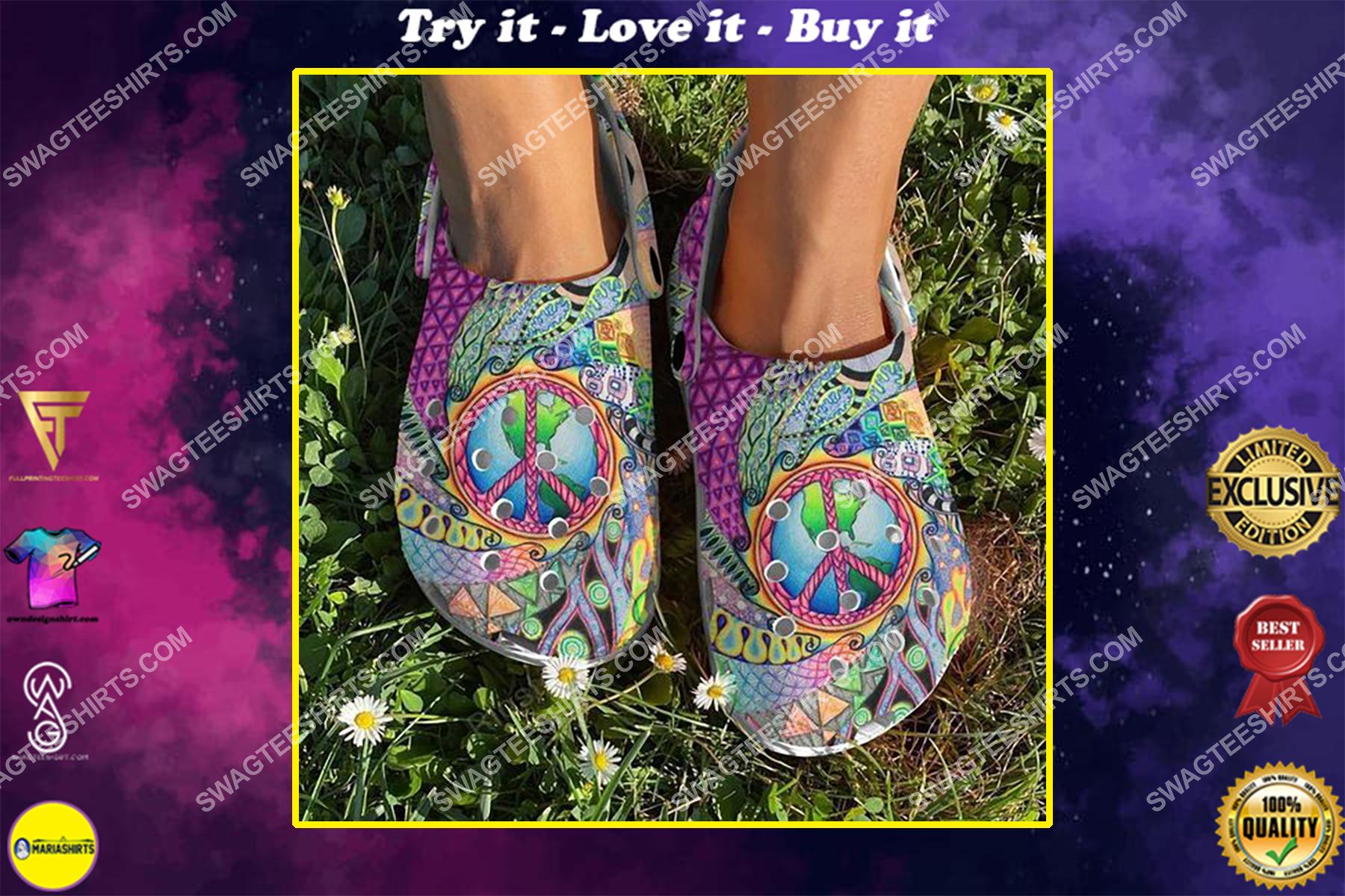 retro hippie colorful all over printed crocs crocband clog