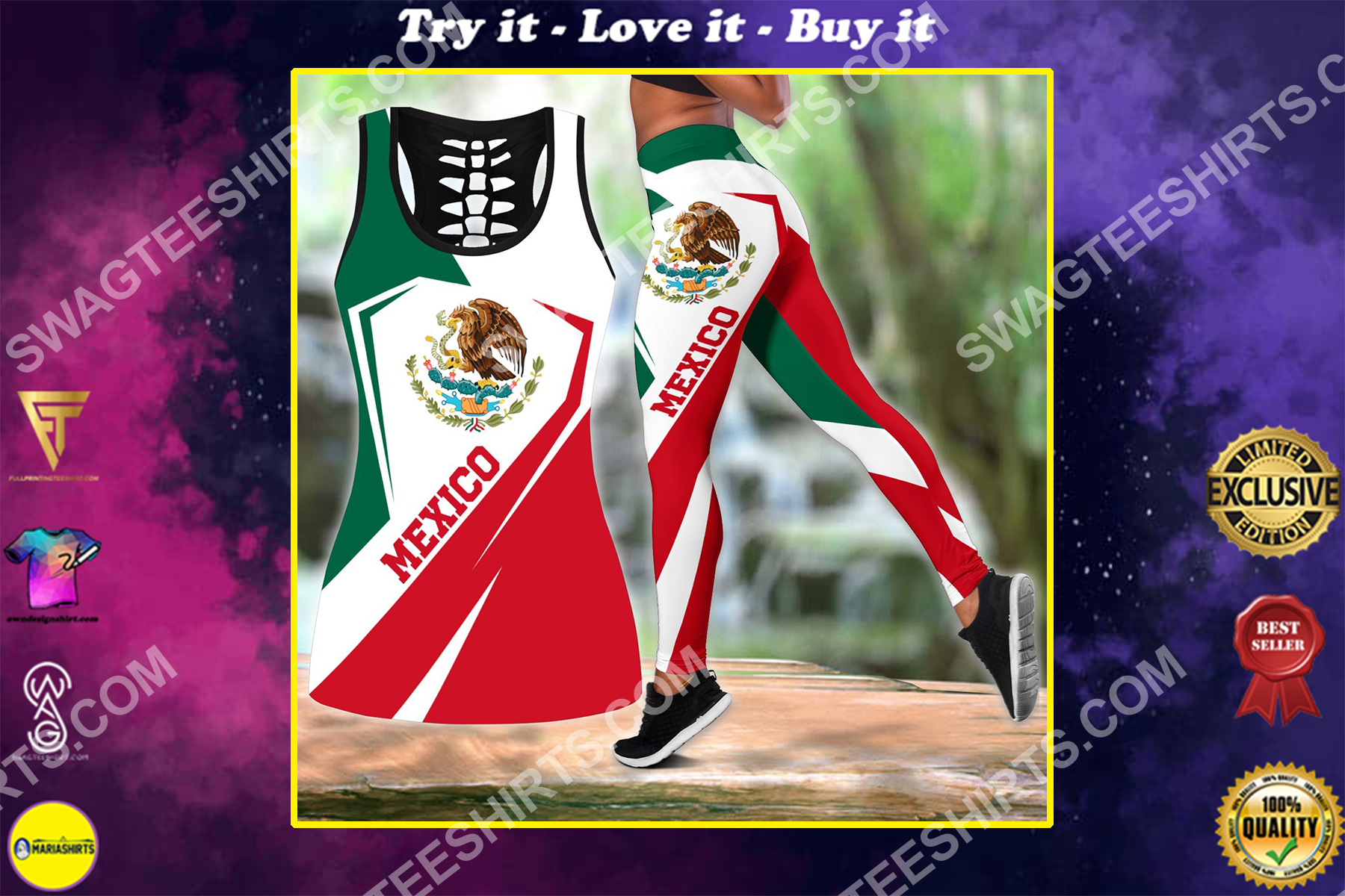 retro mexican flag all over printed set sports outfit