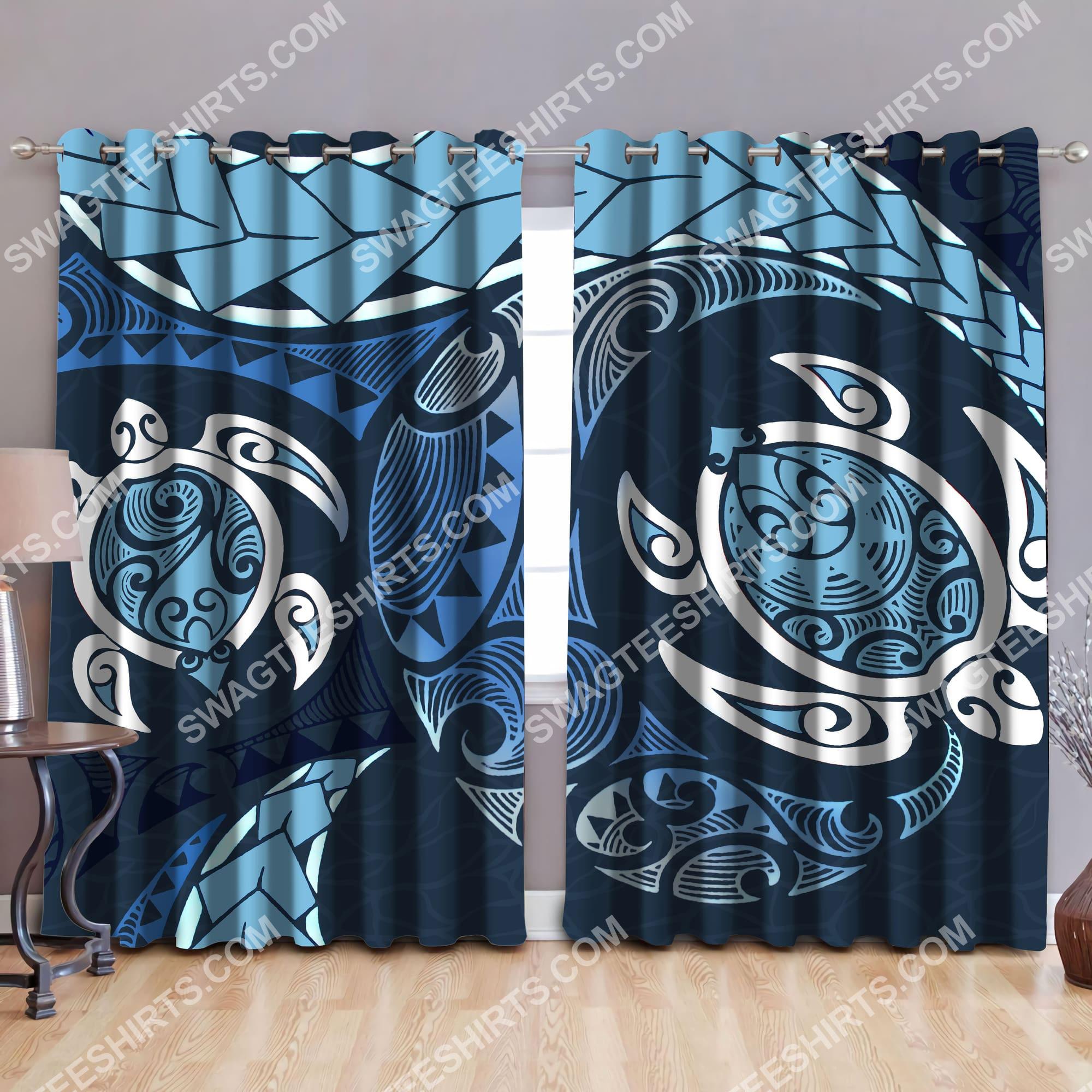 retro sea turtle all over printed window curtains 2(1)