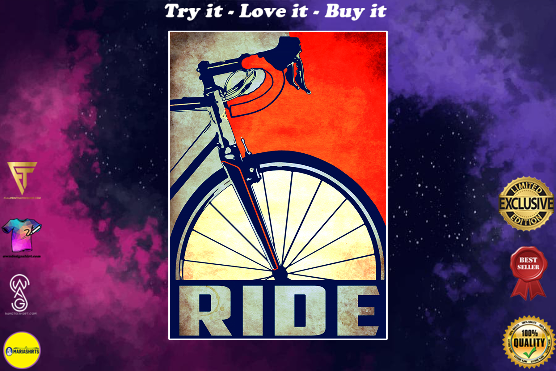 ride bicycle cycling vintage poster