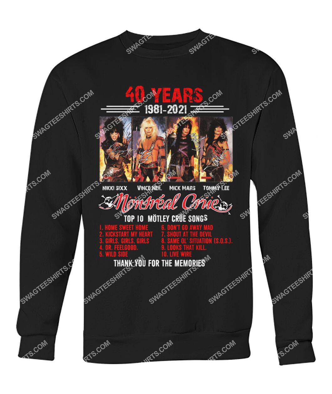 rock band motley crue 40 years thank you for memories signature sweatshirt 1