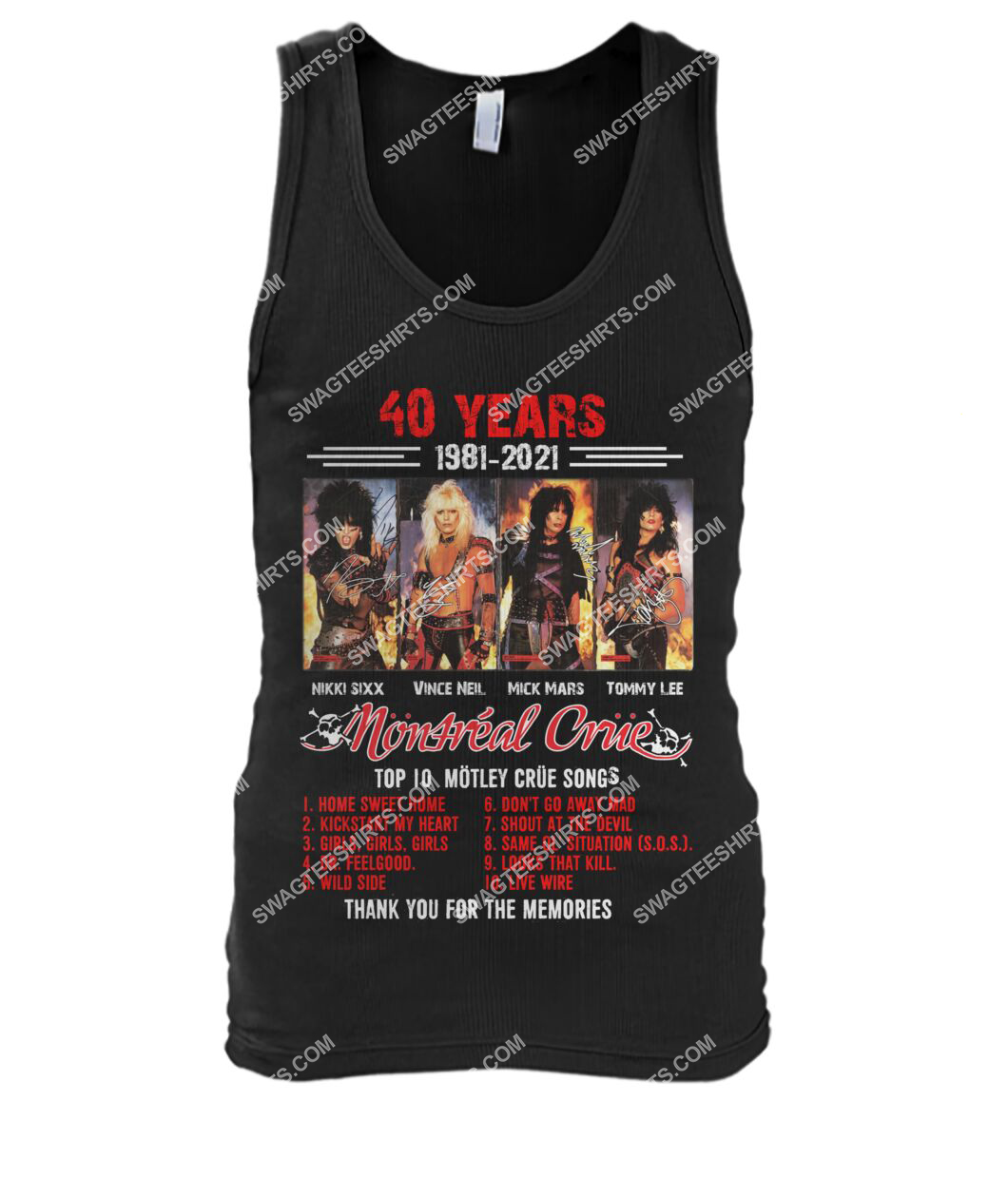 rock band motley crue 40 years thank you for memories signature tank top 1