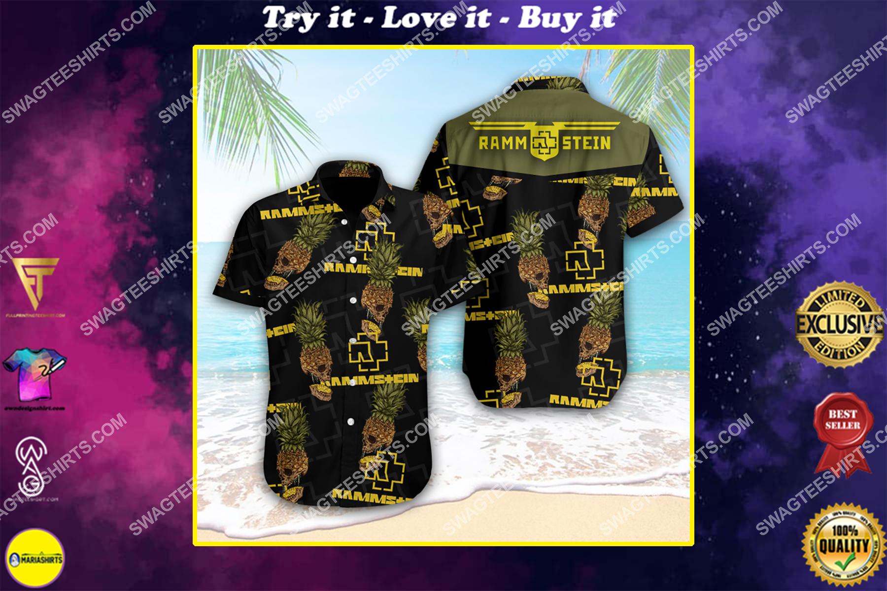 rock band rammstein full printing hawaiian shirt