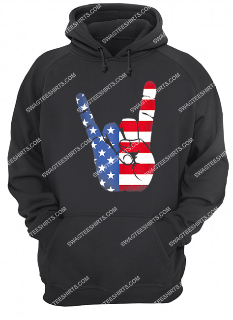 rock sign hand 4th of july american flag hand hoodie 1