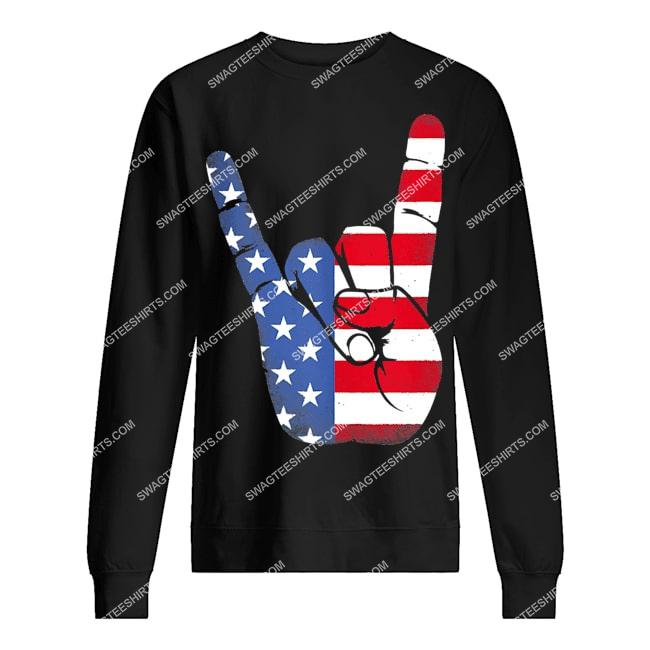rock sign hand 4th of july american flag hand sweatshirt 1