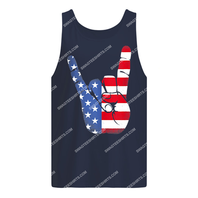rock sign hand 4th of july american flag hand tank top 1