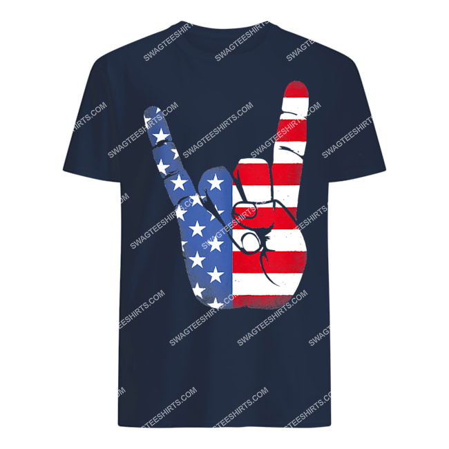 rock sign hand 4th of july american flag hand tshirt 1
