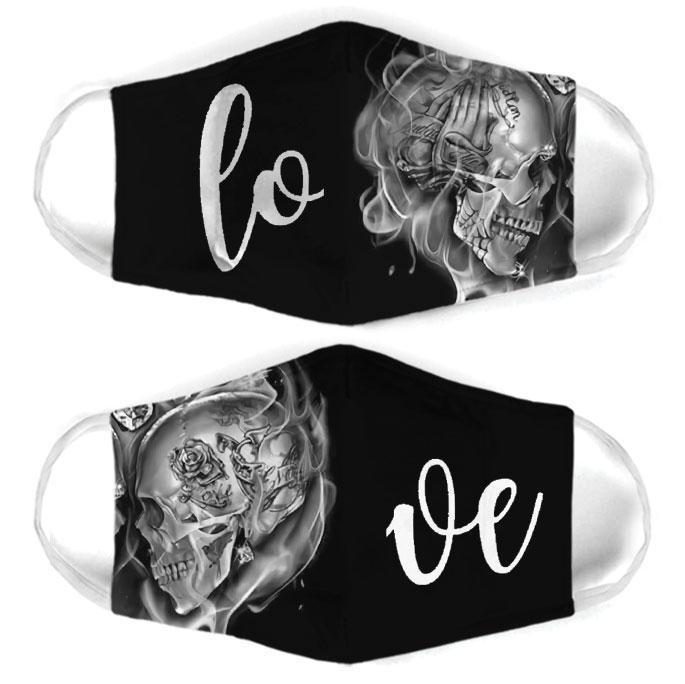 rose skull couple love all over print face mask 2