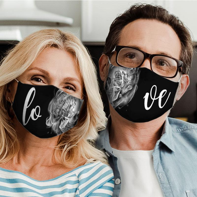 rose skull couple love all over print face mask 5