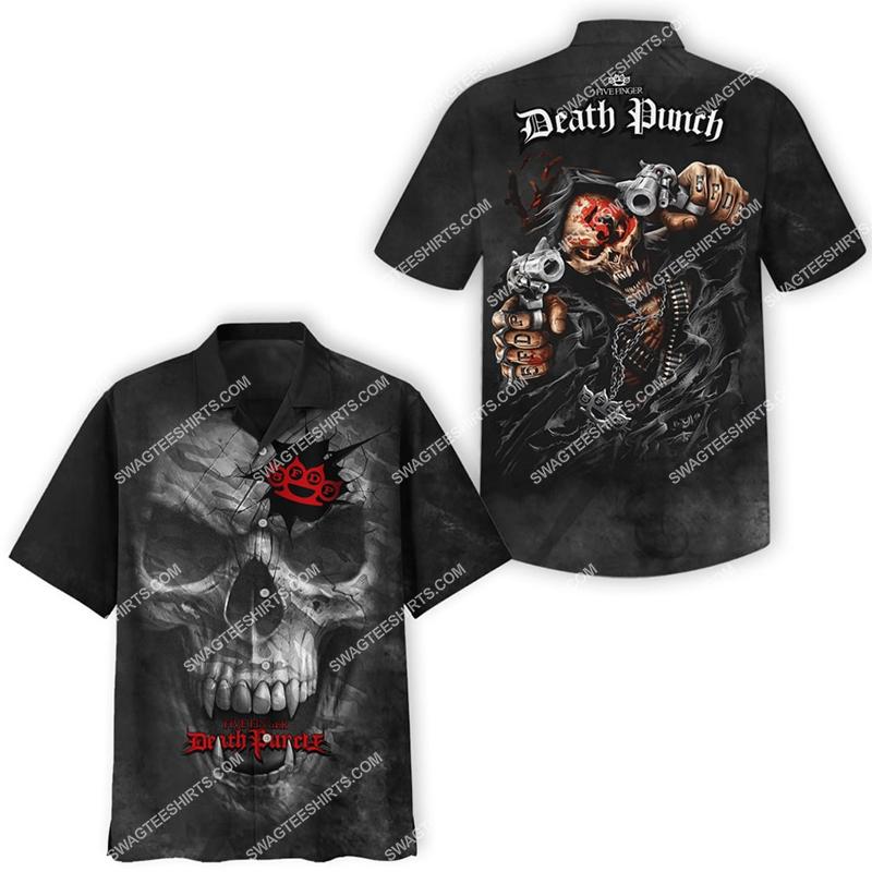 rose skull five finger death punch all over print hawaiian shirt 2(1)