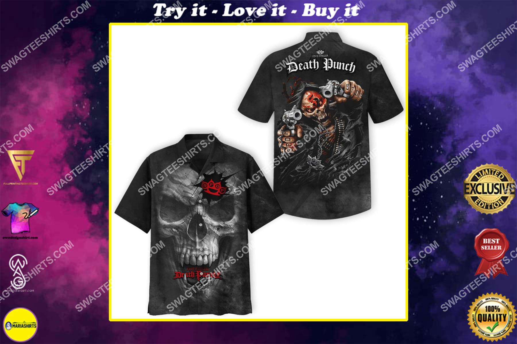 rose skull five finger death punch all over print hawaiian shirt