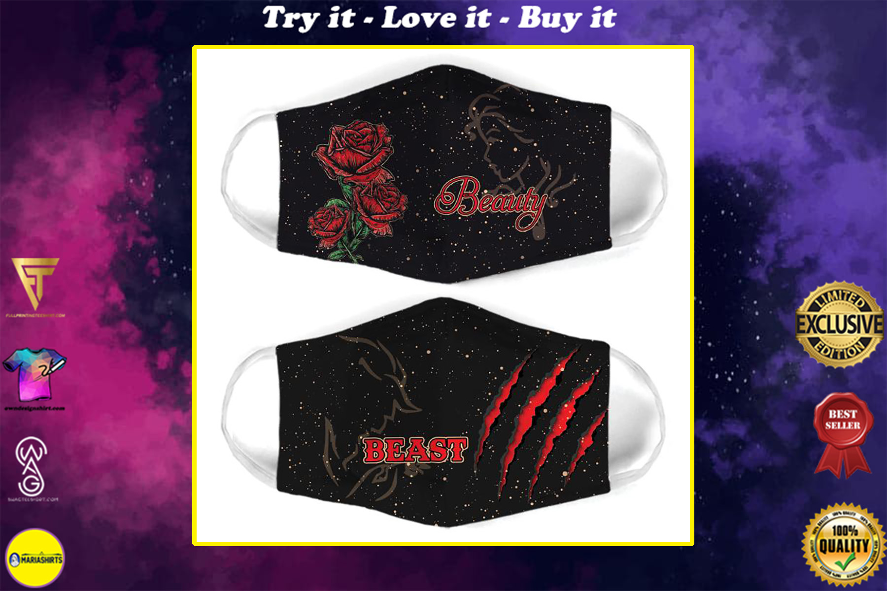 roses beauty and the beast for couple love all over print face mask