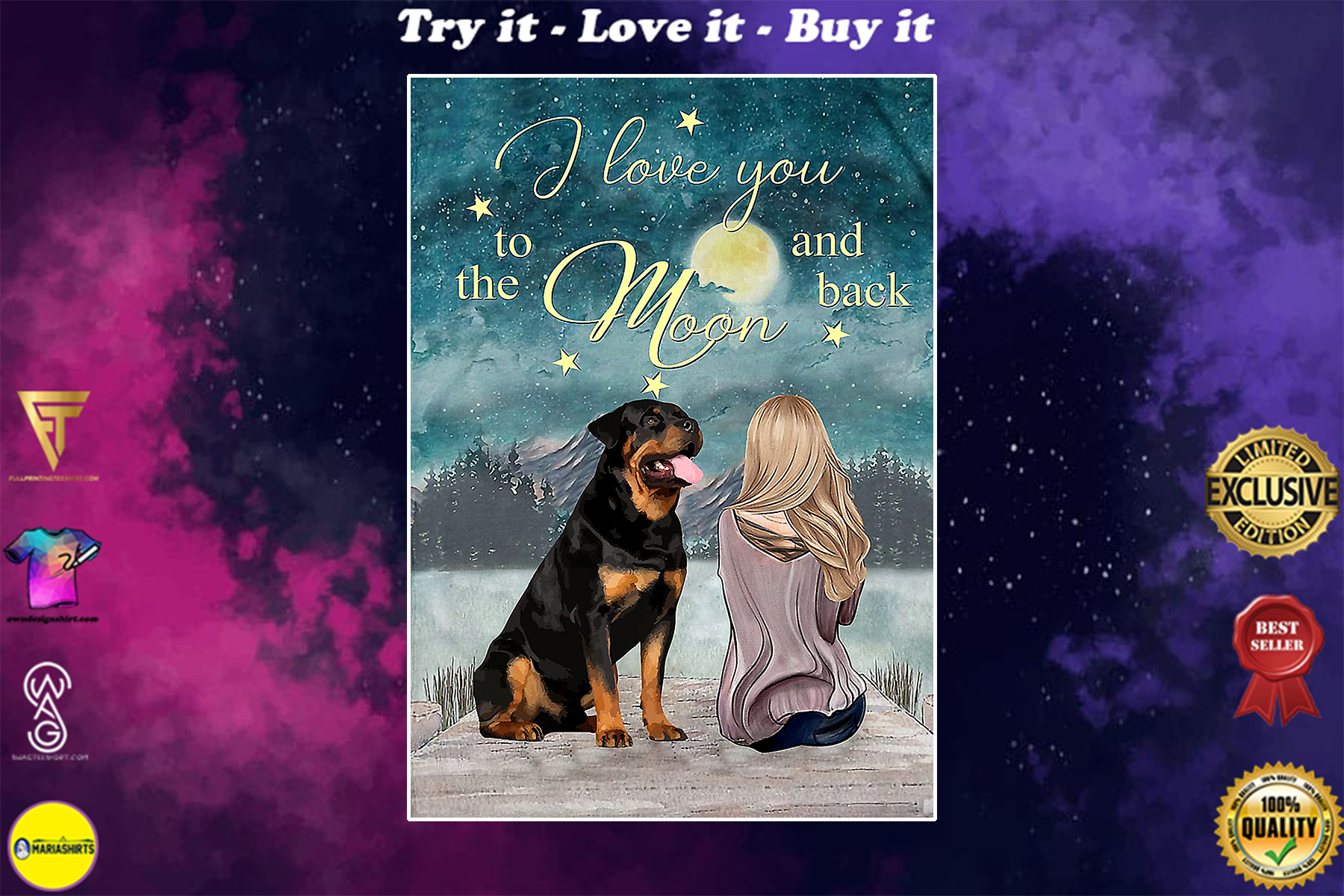 rottweiler i love you to the moon and back poster