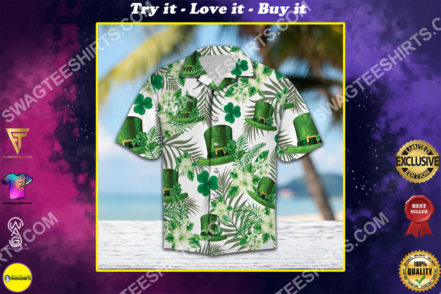 saint patricks day all over printed hawaiian shirt