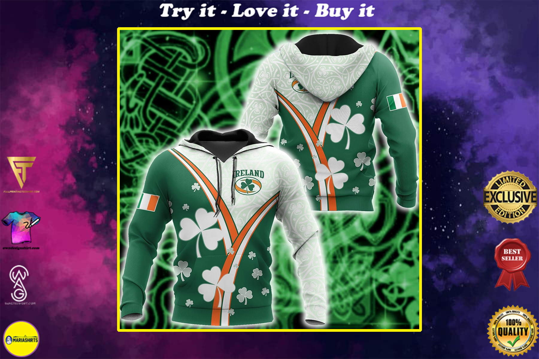 saint patricks day ireland flag full printing shirt