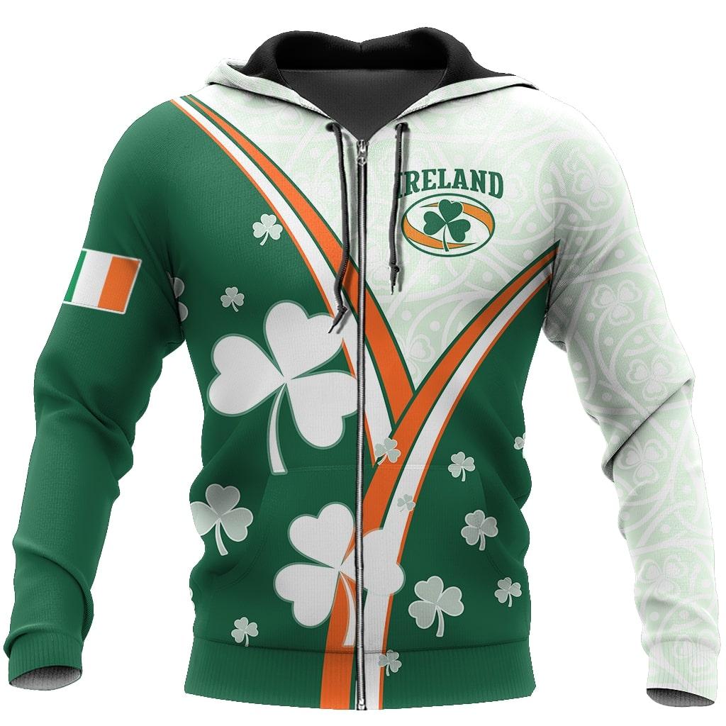 saint patricks day ireland flag full printing zip hoodie