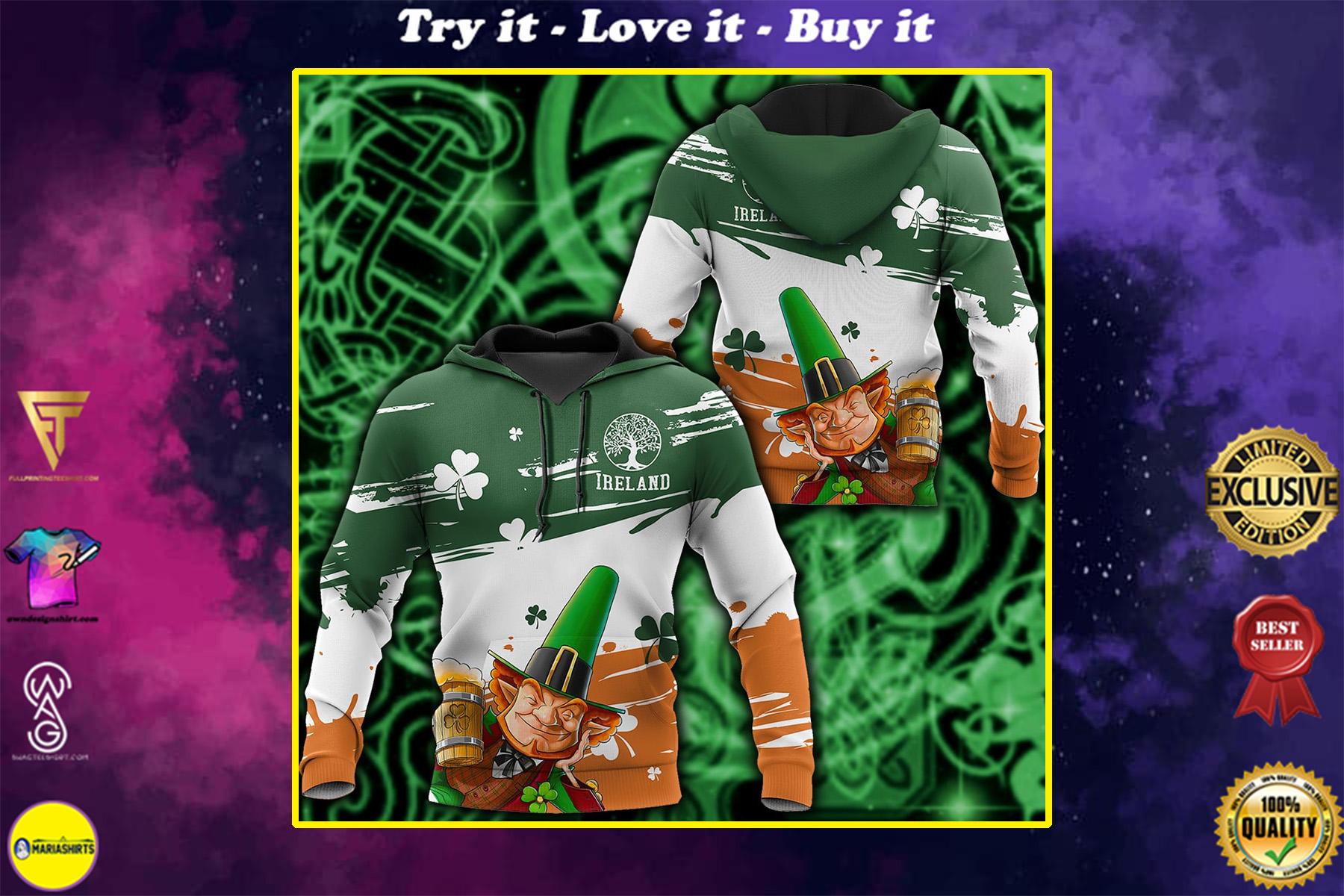 saint patricks day ireland leprechauns full printing shirt
