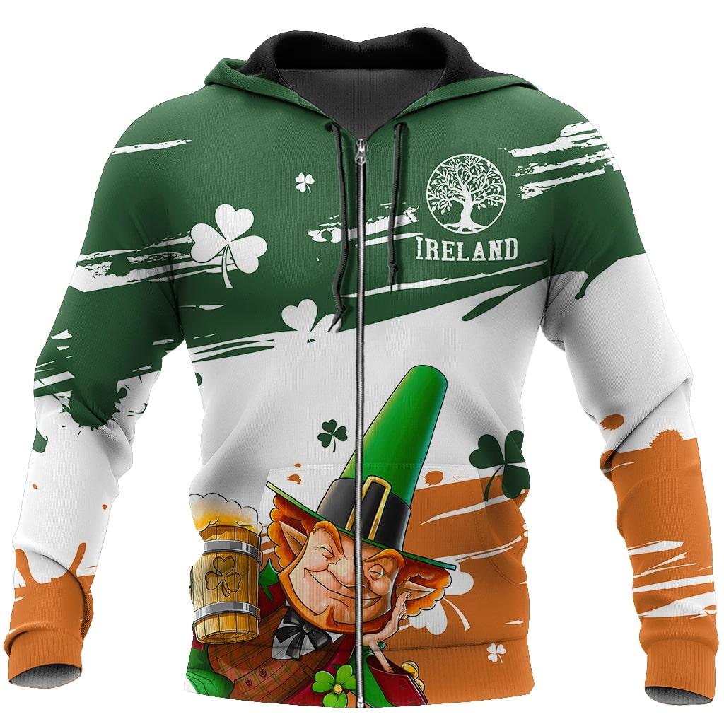 saint patricks day ireland leprechauns full printing zip hoodie