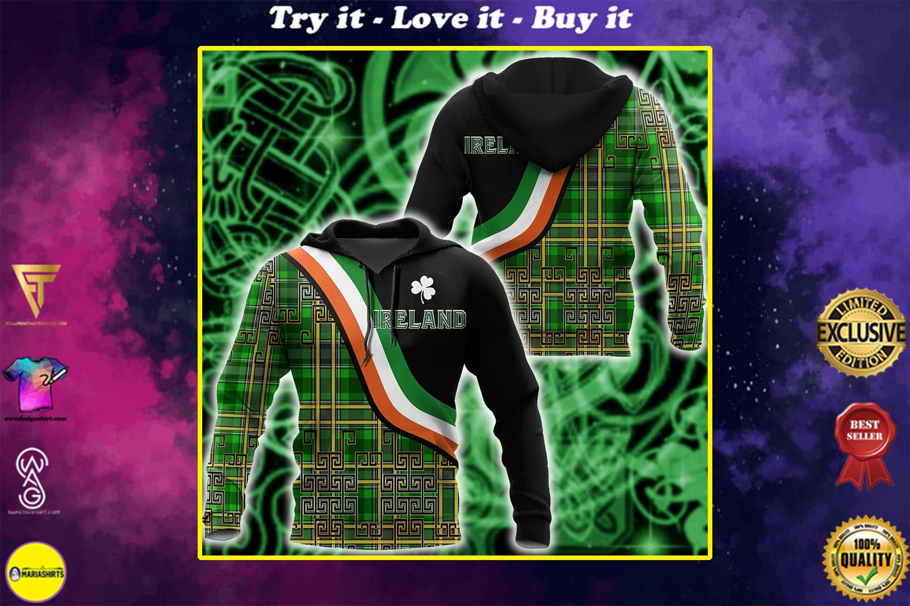 saint patricks day ireland shamrock full printing shirt