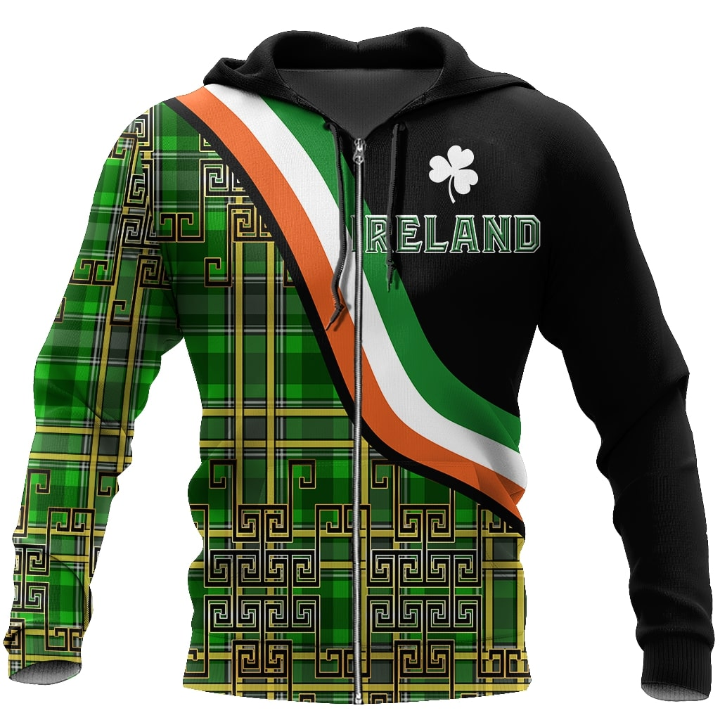 saint patricks day ireland shamrock full printing zip hoodie