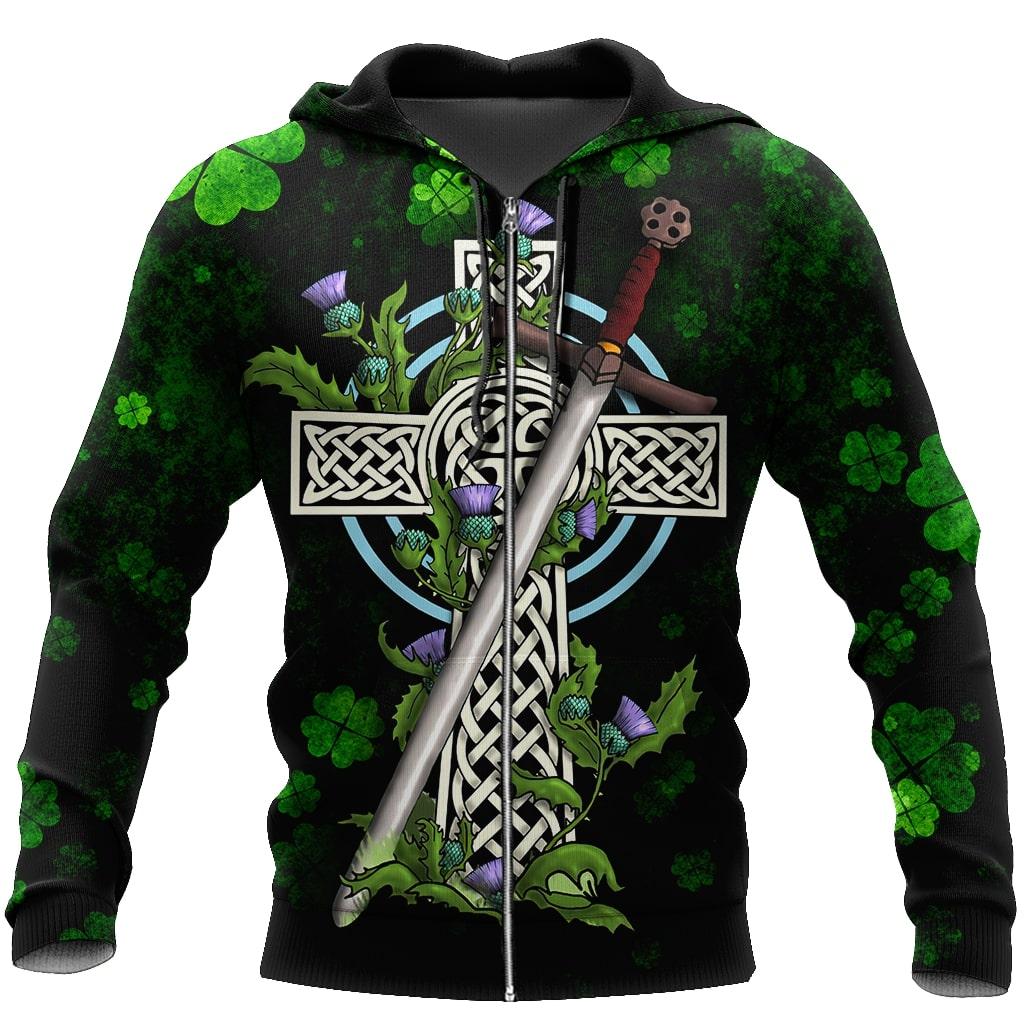 saint patricks day irish pride and sword full printing zip hoodie