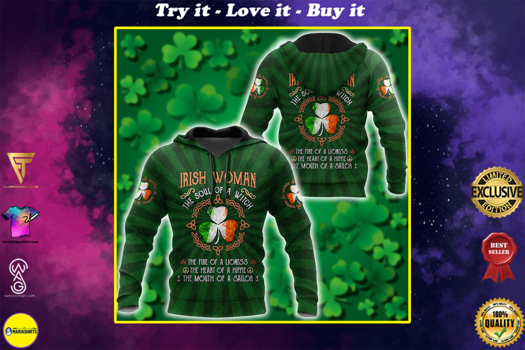 saint patricks day irish woman the soul of a witch all over print shirt