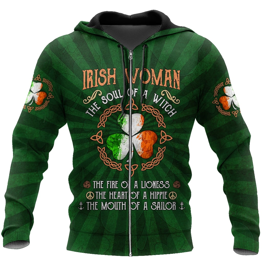 saint patricks day irish woman the soul of a witch all over print zip hoodie