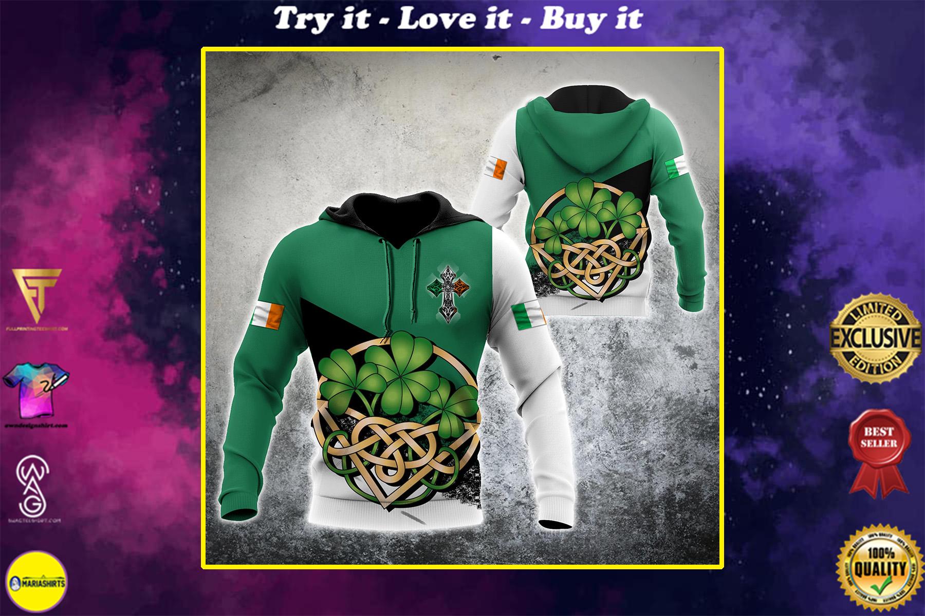 saint patricks day shamrock celtic cross all over print shirt