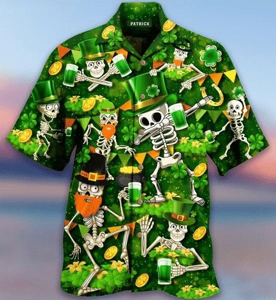 saint patricks day skull all over printed hawaiian shirt 3