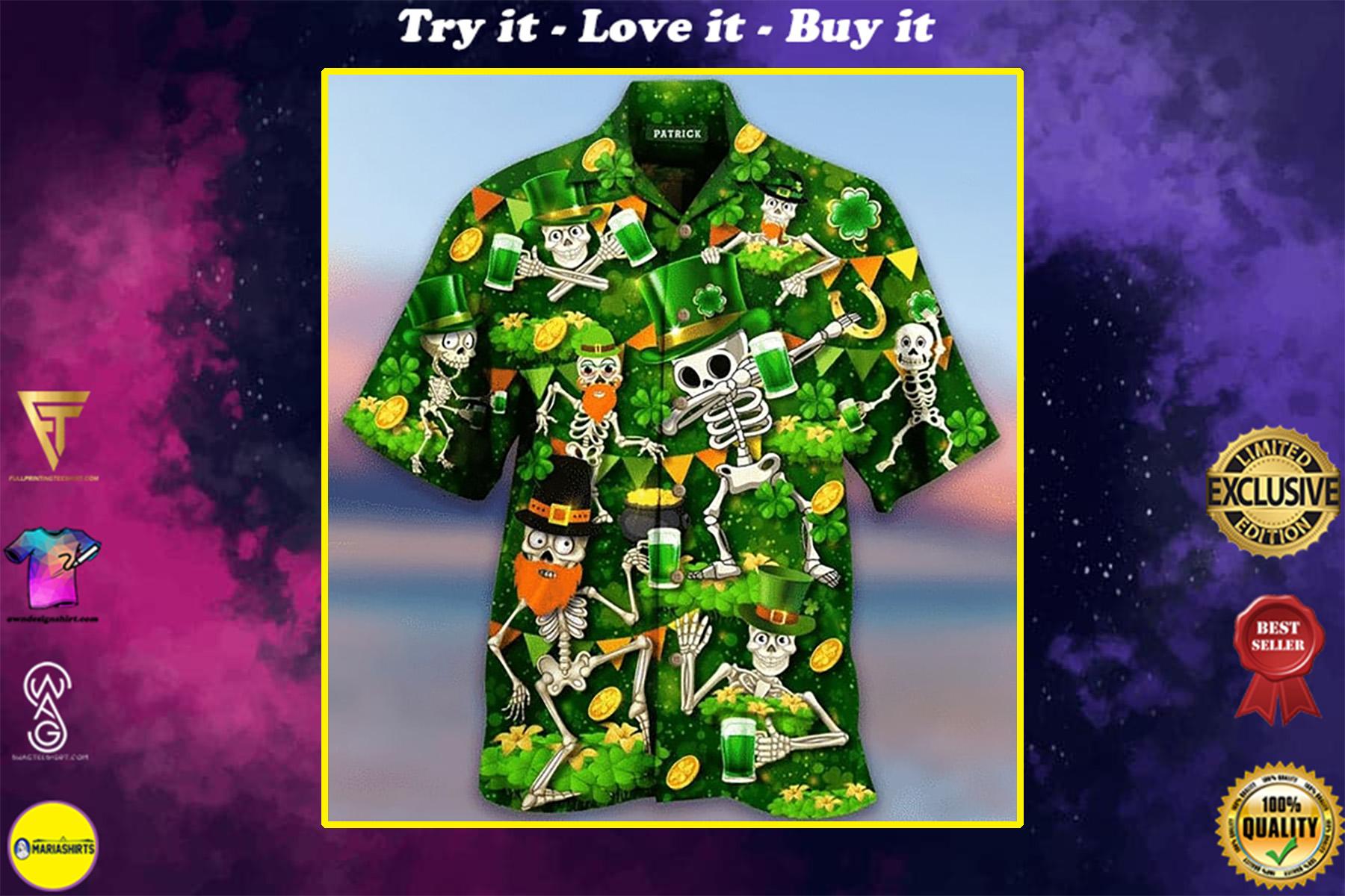 saint patricks day skull all over printed hawaiian shirt