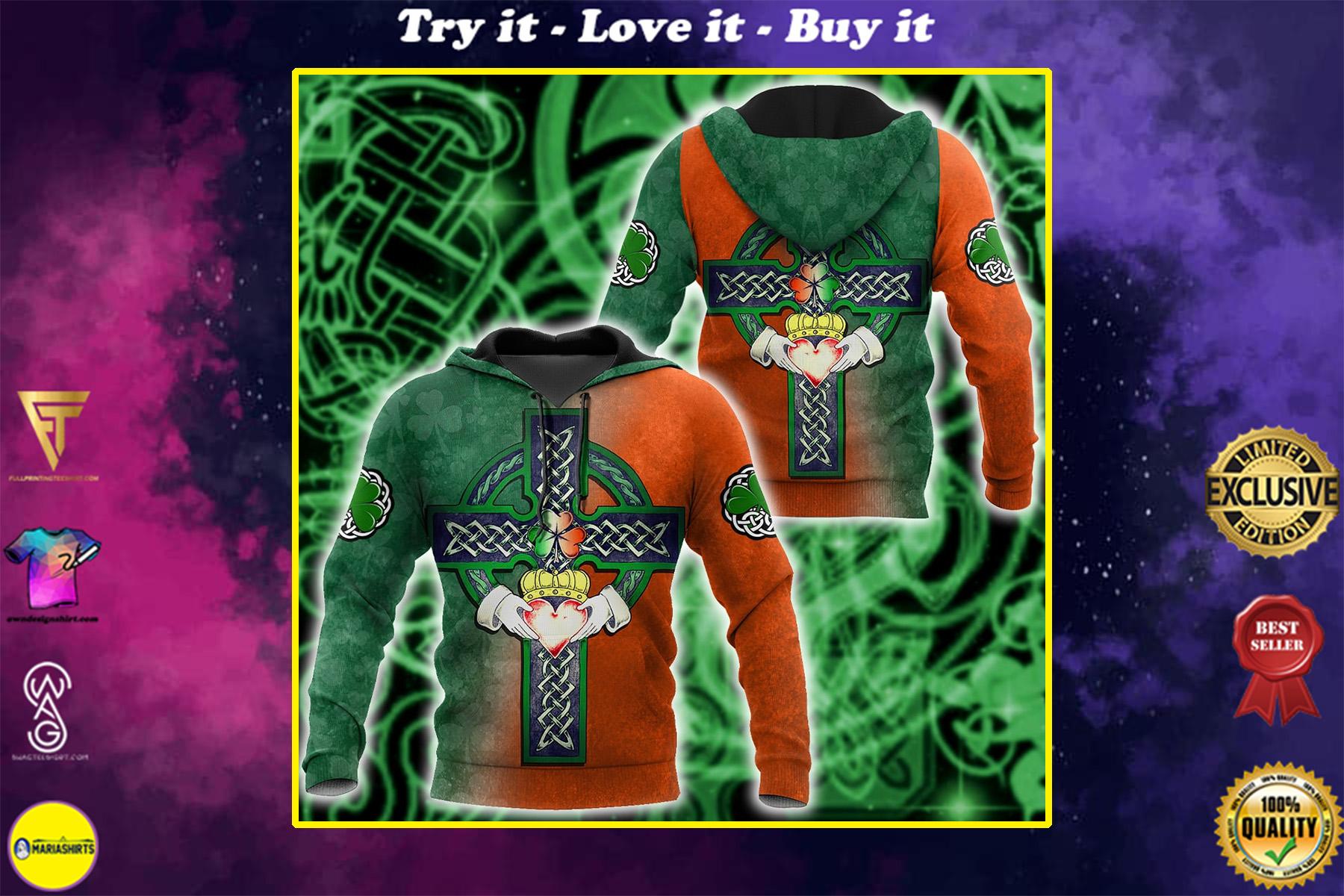 saint patricks day the celtic cross heart full printing shirt