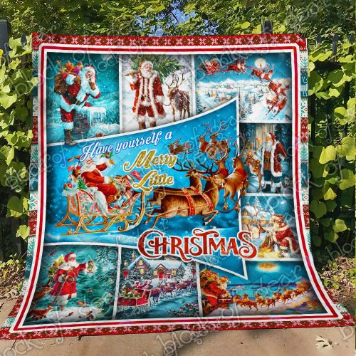 santa claus and reindeer red truck have yourself a merry little christmas quilt 4