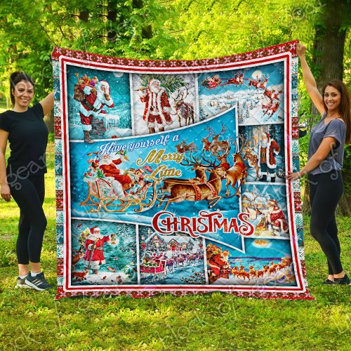 santa claus and reindeer red truck have yourself a merry little christmas quilt 5