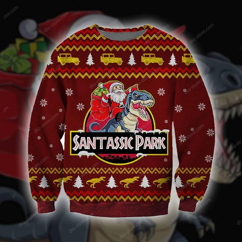 santassic park all over printed ugly christmas sweater 2