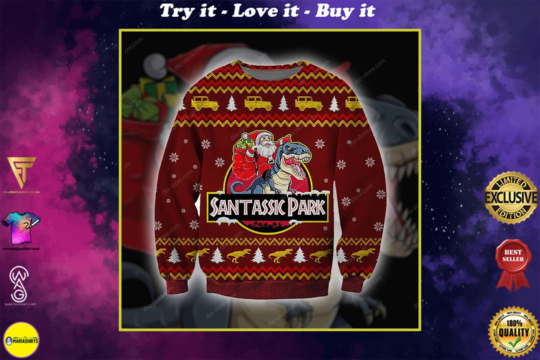 santassic park all over printed ugly christmas sweater