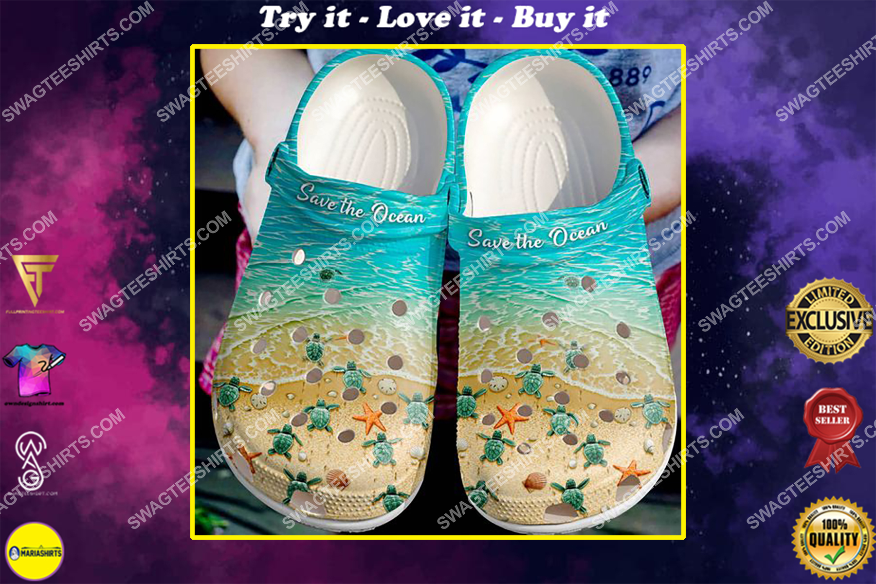 save the ocean sea turtle all over printed crocs