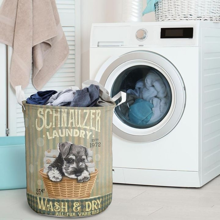 schnauzer wash and dry all over print laundry basket 2