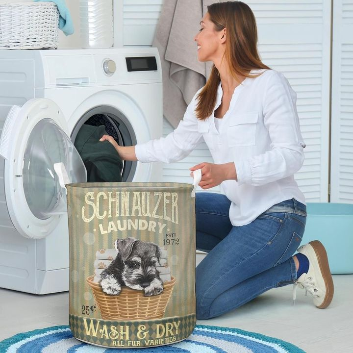 schnauzer wash and dry all over print laundry basket 5