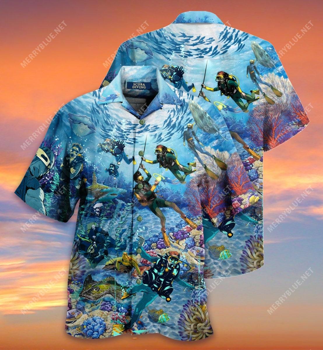 scuba diving all over printed hawaiian shirt 3