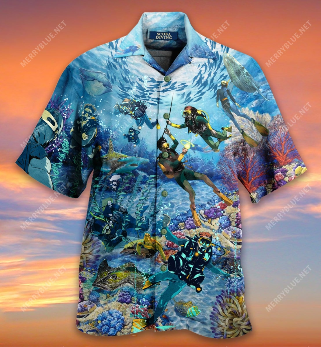 scuba diving all over printed hawaiian shirt 4