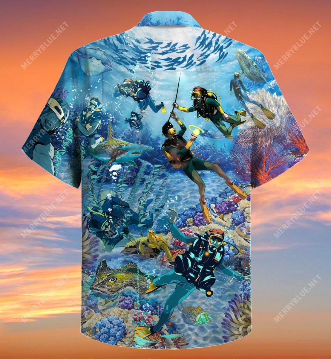 scuba diving all over printed hawaiian shirt 5