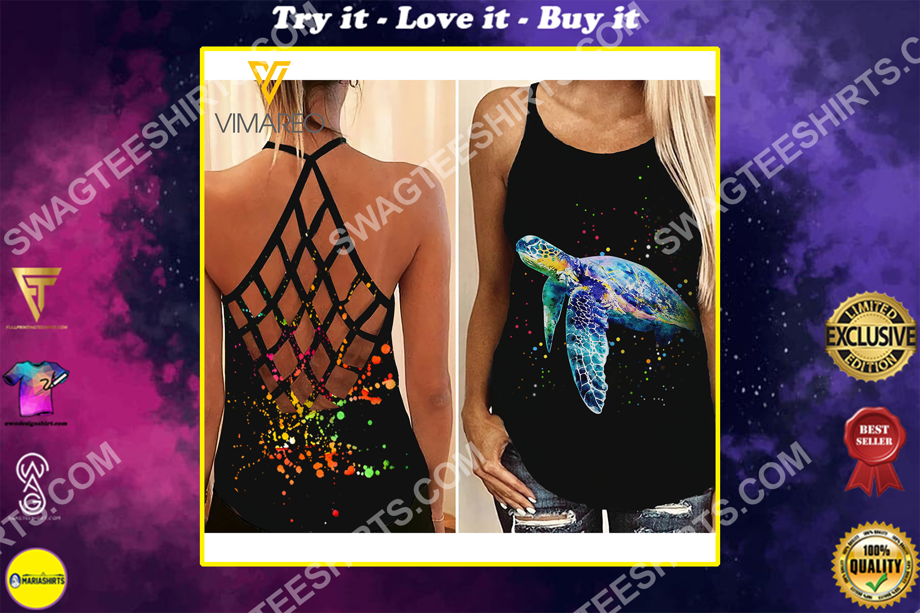 sea turtle colorful all over printed strappy back tank top