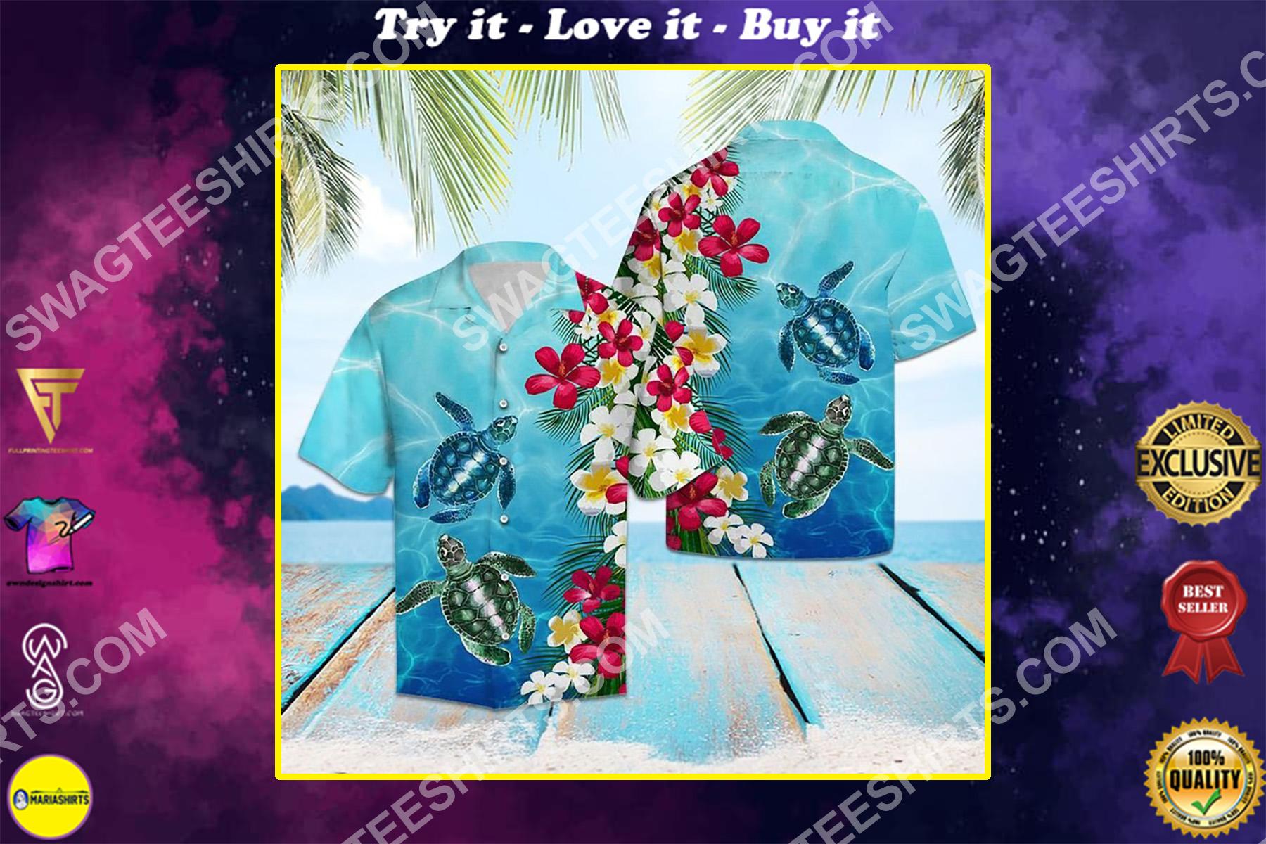 sea turtle floral all over printed hawaiian shirt